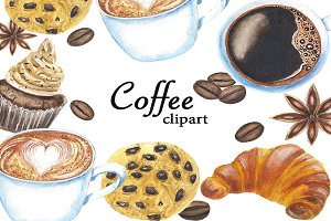 Coffee Clipart, Watercolor Clipart