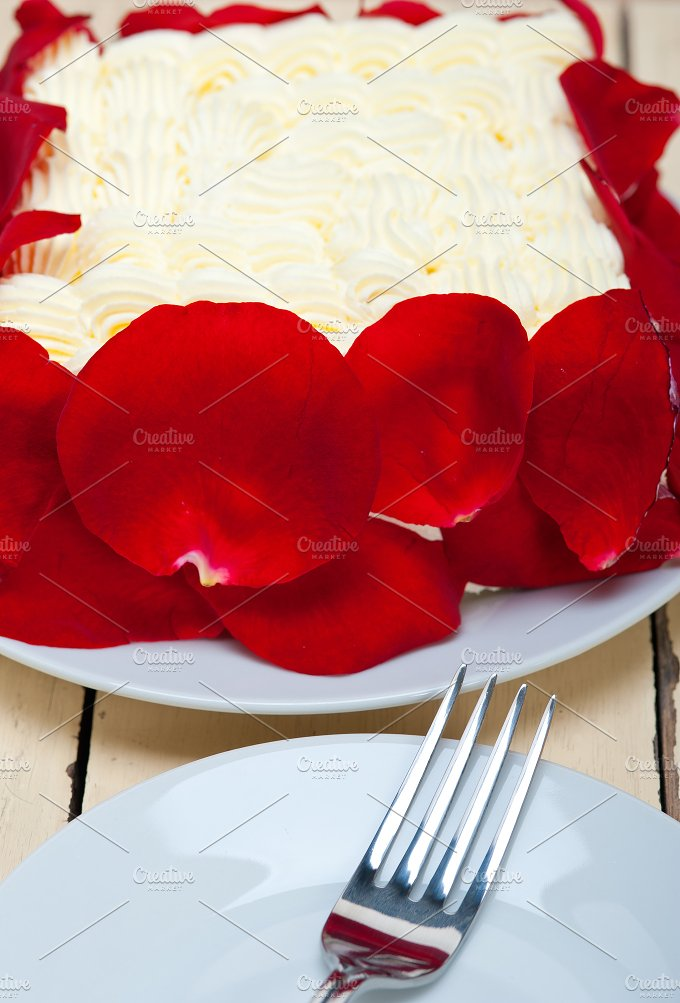 whipped cream mango cake with red rose petals 021.jpg - Food & Drink