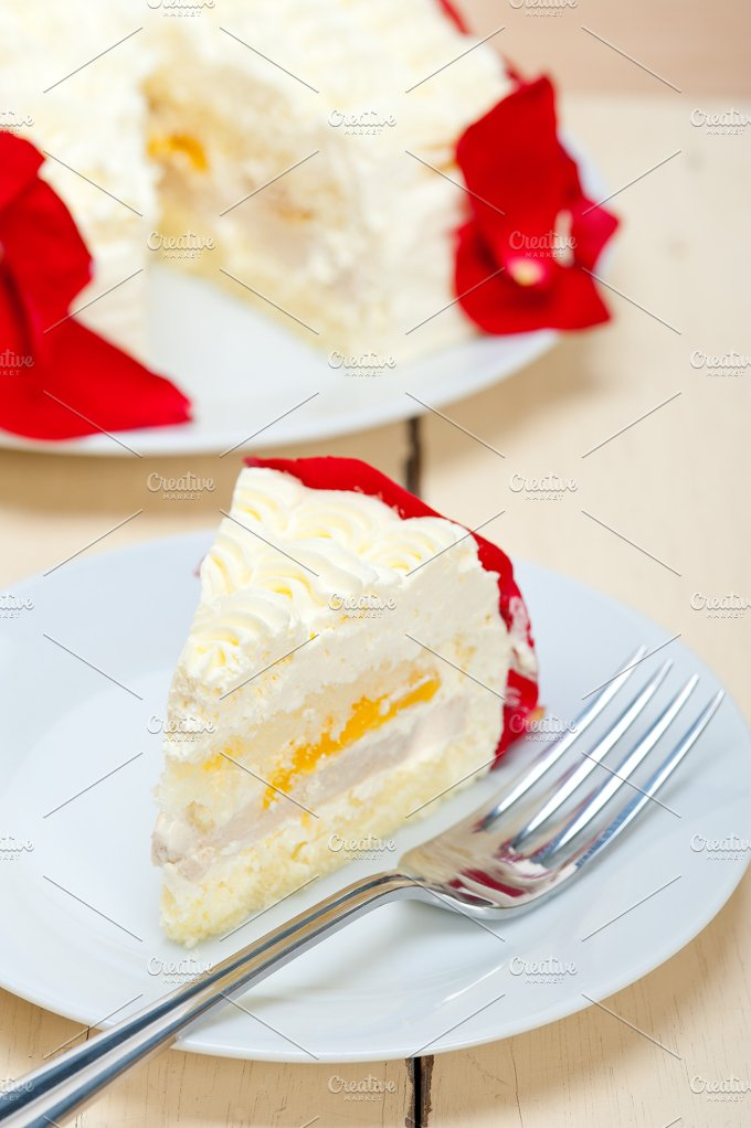 whipped cream mango cake with red rose petals 030.jpg - Food & Drink