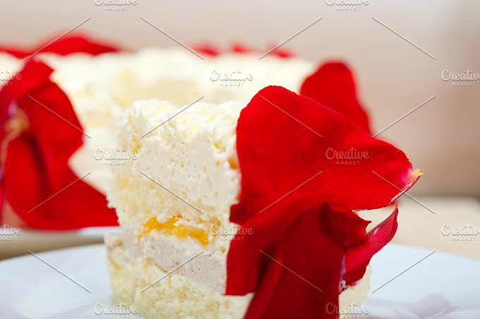 whipped cream mango cake with red rose petals 035.jpg - Food & Drink