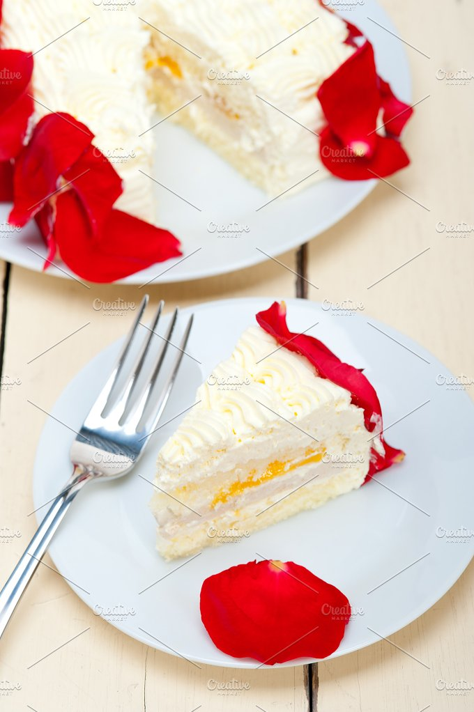 whipped cream mango cake with red rose petals 038.jpg - Food & Drink