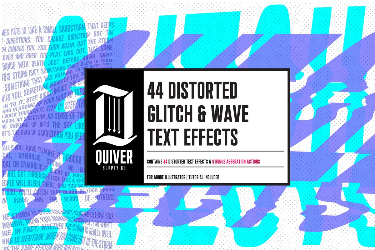 44 Distorted Glitch & Wave Effects ~ Illustrator Add-Ons