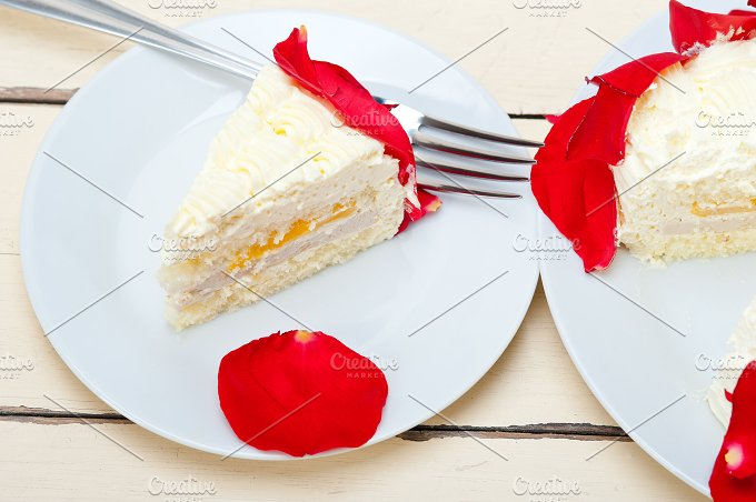 whipped cream mango cake with red rose petals 042.jpg - Food & Drink
