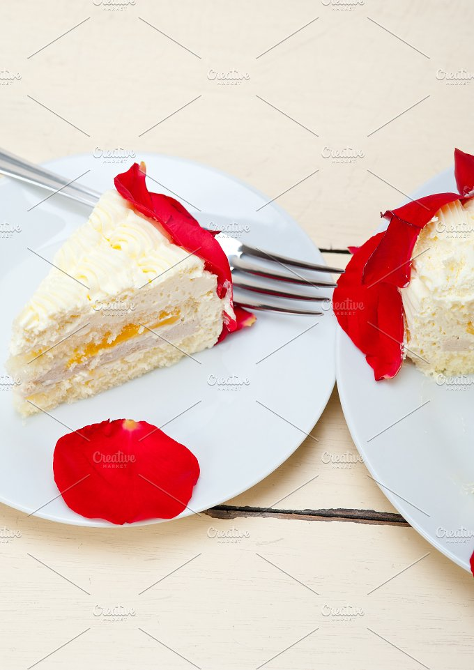 whipped cream mango cake with red rose petals 044.jpg - Food & Drink