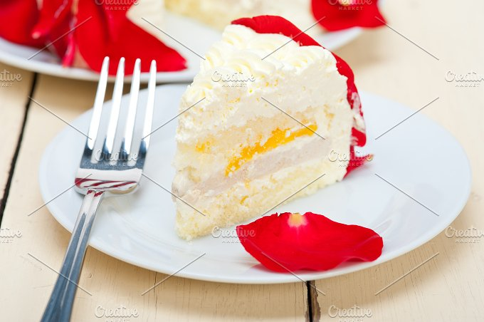 whipped cream mango cake with red rose petals 046.jpg - Food & Drink