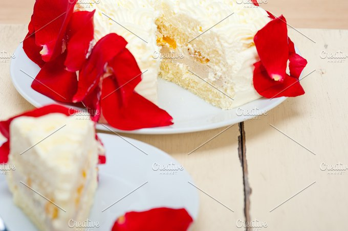 whipped cream mango cake with red rose petals 050.jpg - Food & Drink