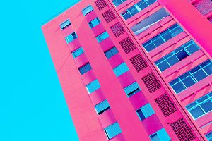Minimal architecture art. Pink fashi