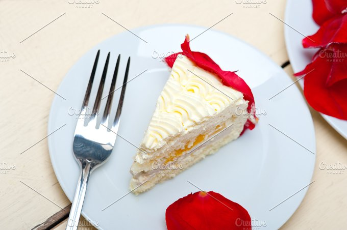 whipped cream mango cake with red rose petals 054.jpg - Food & Drink