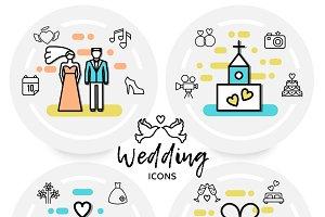 Wedding line icons concept