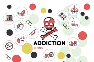 Harmful addictions line icons