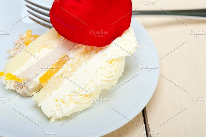 whipped cream mango cake with red rose petals 066.jpg - Food & Drink