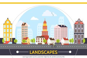 Flat summer cityscape template