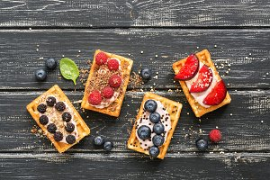 Waffles with fresh berries and