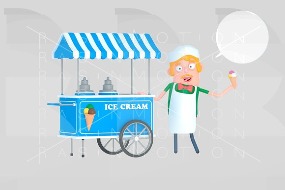 Ice cream seller in front of ice cre