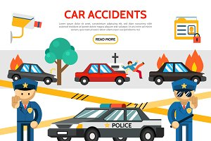 Flat road accident icons set