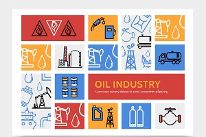 Oil industry infographic concept