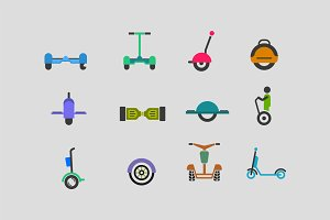 12 Electric Scooter Icons