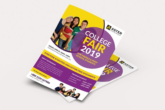college fair flyer flyer templates creative market