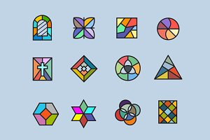 12 Stained Glass Icons