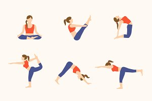 12 Yoga Poses Icon Illustrations