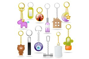 Trinket vector metal keychain with