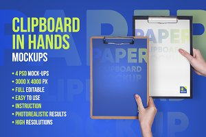 Clipboard in Hands PSD Mock-up