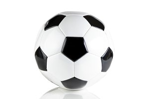 Single soccer ball on white