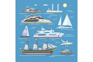 Ships vector boats or cruise