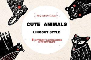 CUTE ANIMALS | Linocut | Vintage