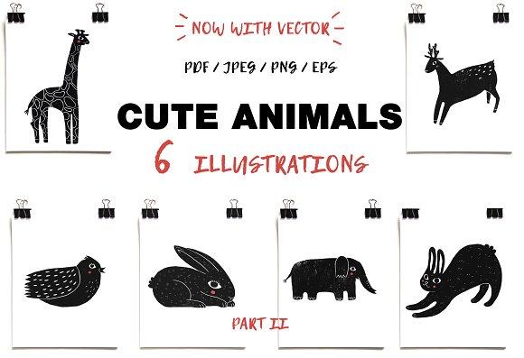 Cute animals / part 2 / Linocut