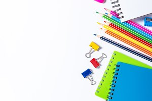 School and office supplies on white.