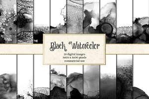 Black Watercolor Textures