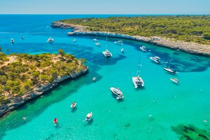 Aerial view of boats, luxury yachts