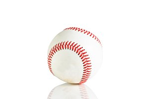 Single baseball isolated on a white