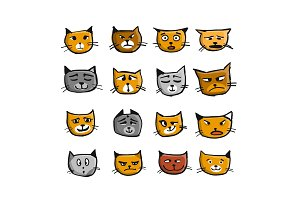 Cat faces, sketch for your design
