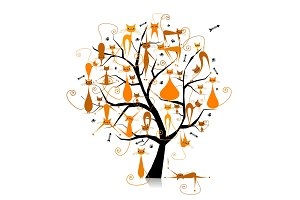 Ginger cats on tree branches
