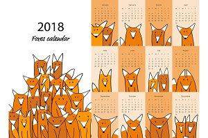 Funny foxes, calendar 2018 design