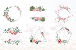 6 Floral Flower Wreath Frame Flat