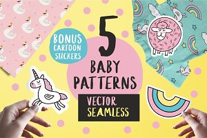 "Set of 5 ""Baby style"" patterns."