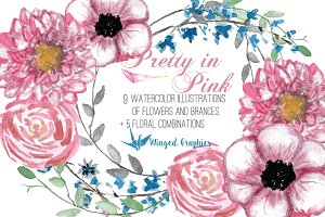 Pretty in Pink: Flower Illustrations