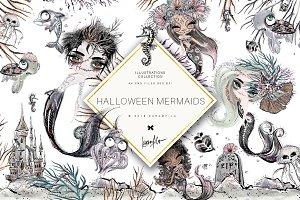Halloween Mermaids Clipart