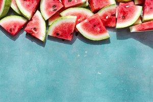 Flat lay Watermelon slice