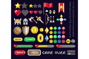 Set of pixel game art icons