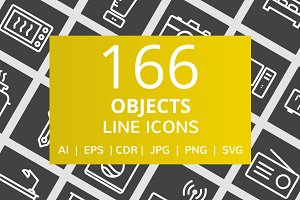 166 Objects Line Inverted Icons
