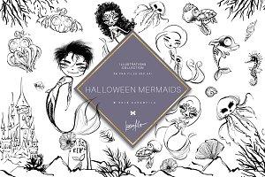 Halloween Mermaids Doodle Clipart