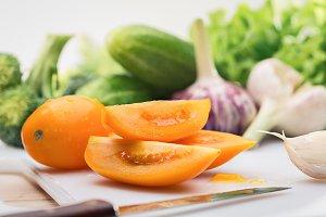Still life with summer vegetables.