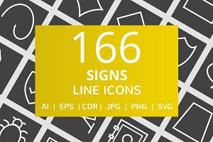 166 Signs Line Inverted Icons