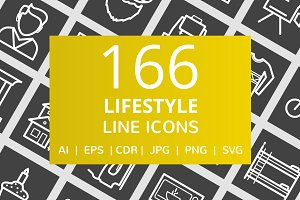 166 Lifestyle Line Inverted Icons