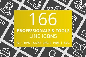 166 Professionals & Tools Line Icons