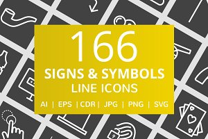 166 Signs & Symbols Line Icons